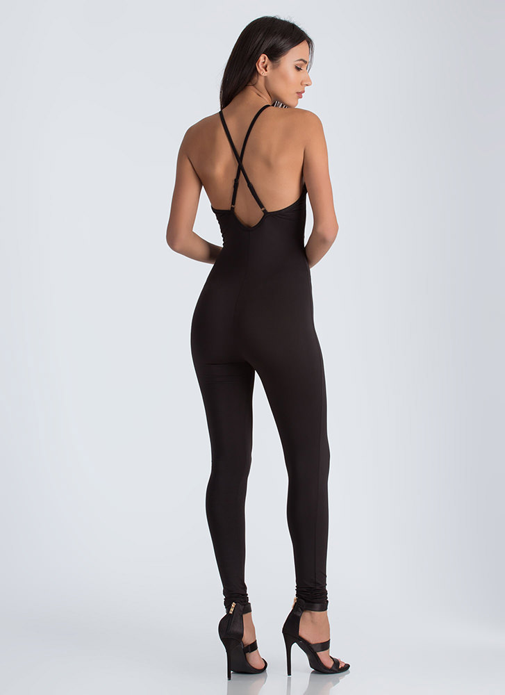 Don't Be Cross Strappy Jumpsuit BLACK