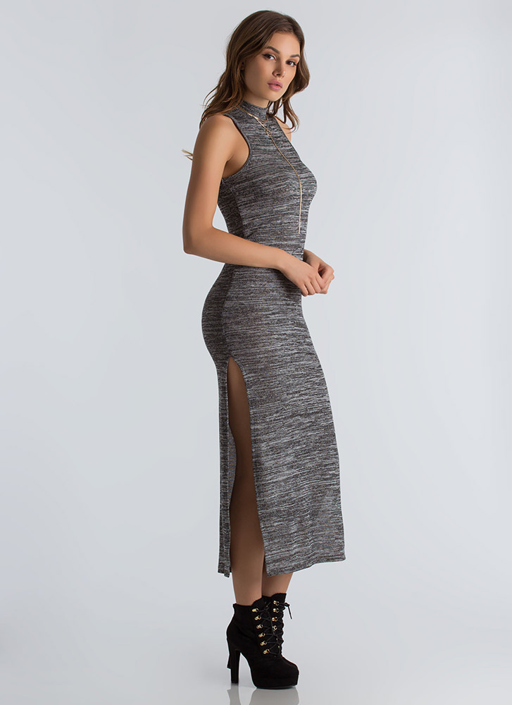 Knits For The Best Marled Slit Maxi CHARCOAL