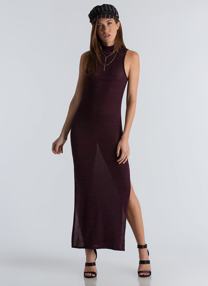 Knits For The Best Marled Slit Maxi MAROON