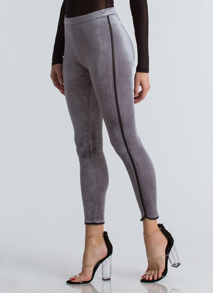 Stay Active Velvet Dolphin Hem Leggings GREY