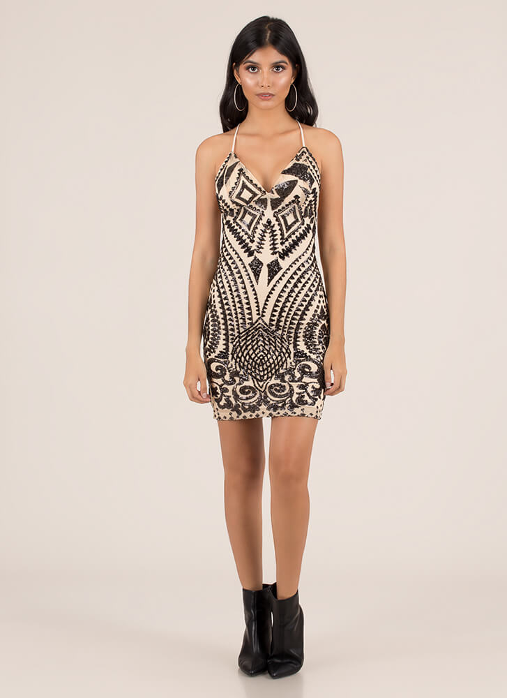 Diamonds Are A Girl's Sequined Dress BLACK