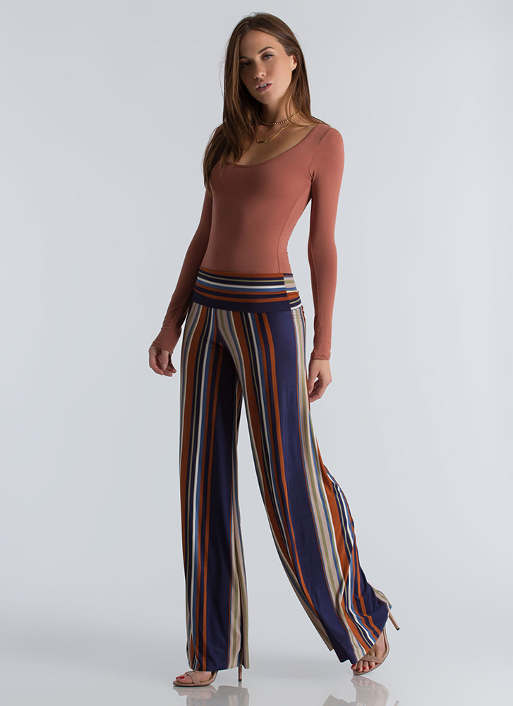 Inside The Lines Striped Palazzo Pants NAVY
