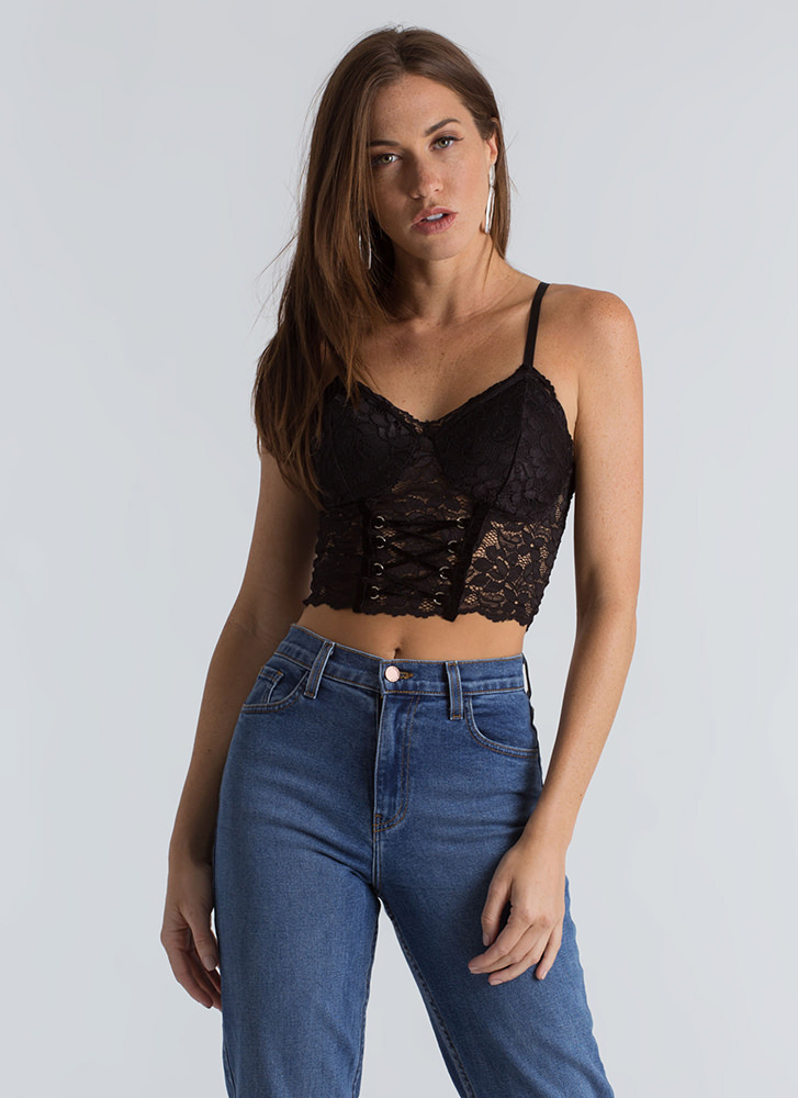 Corset Life Floral Lace Crop Top BLACK