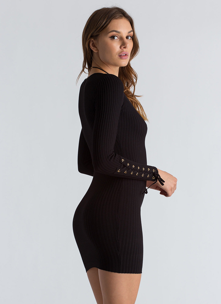 On My Sleeve Lace-Up Ribbed Dress BLACK (You Saved $25)