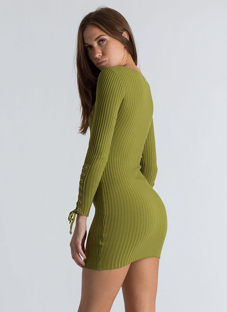 On My Sleeve Lace-Up Ribbed Dress GREEN (Final Sale)