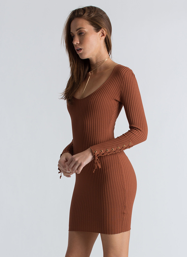 On My Sleeve Lace-Up Ribbed Dress RUST