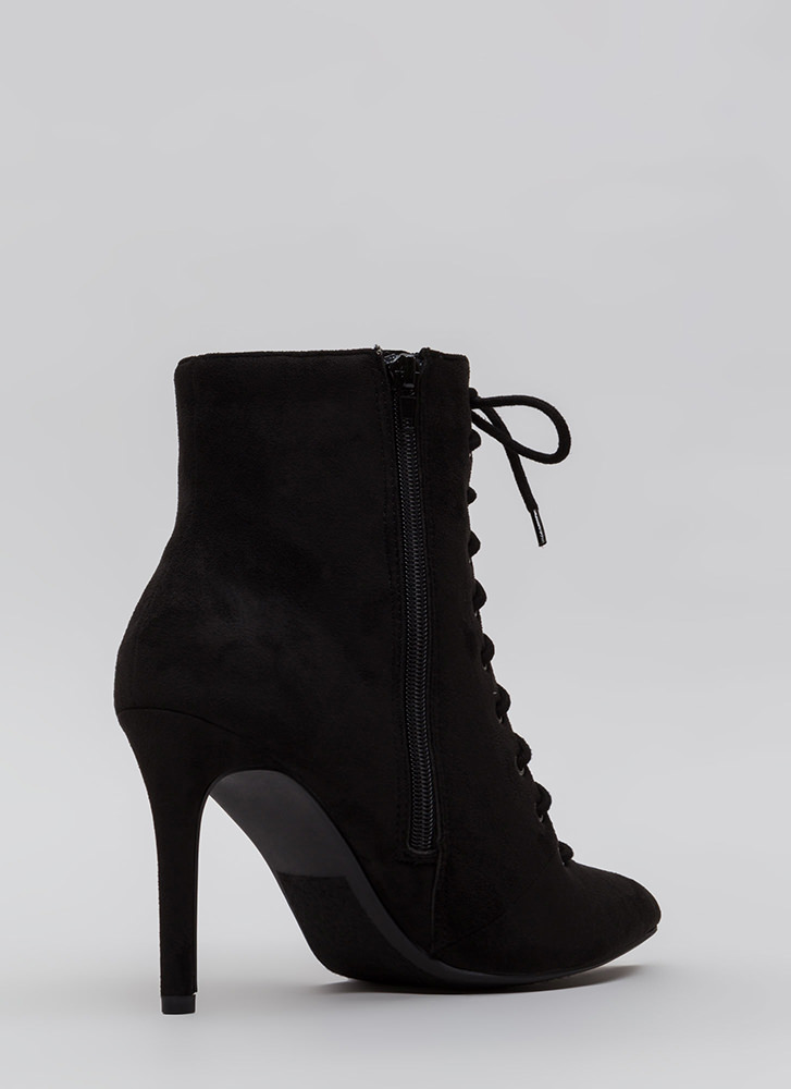 On A Mission Pointy Lace-Up Booties BLACK