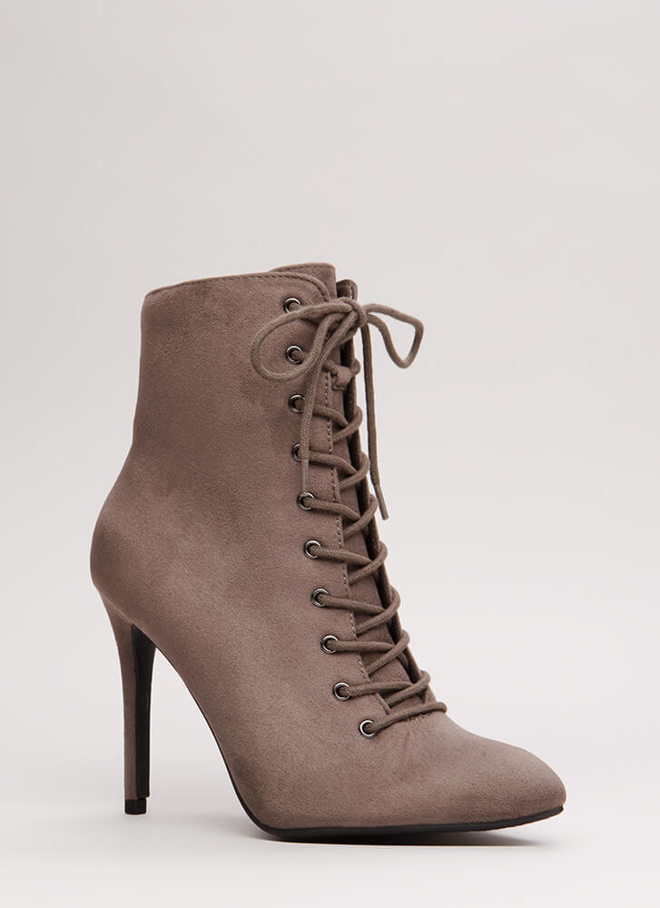On A Mission Pointy Lace-Up Booties CHARCOAL