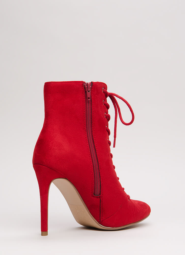 On A Mission Pointy Lace-Up Booties LIPSTICK
