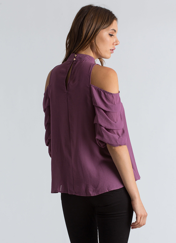 In Tiers Puffy Sleeve Choker Blouse PLUM