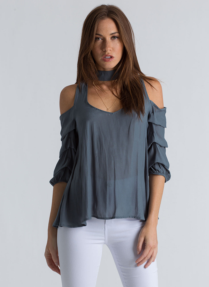 In Tiers Puffy Sleeve Choker Blouse TEAL