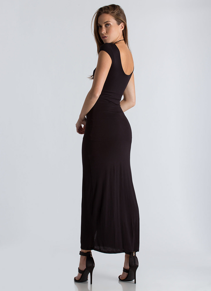 Act Casual Plunging Lace-Up Maxi BLACK