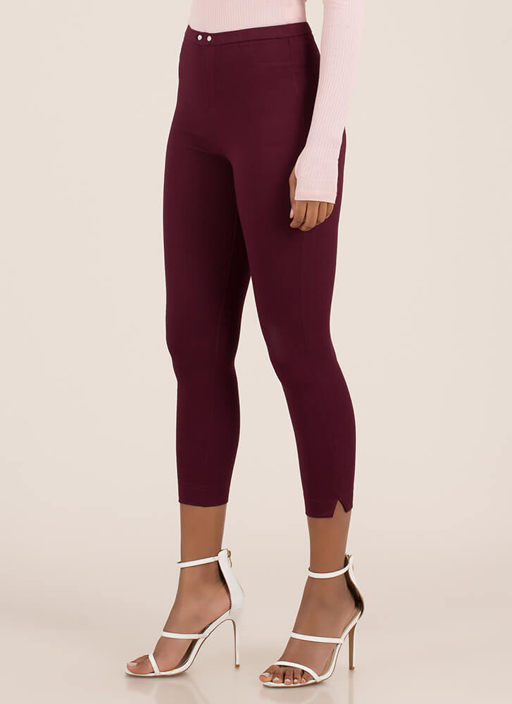 Tight Race Cropped Skinny Pants BURGUNDY