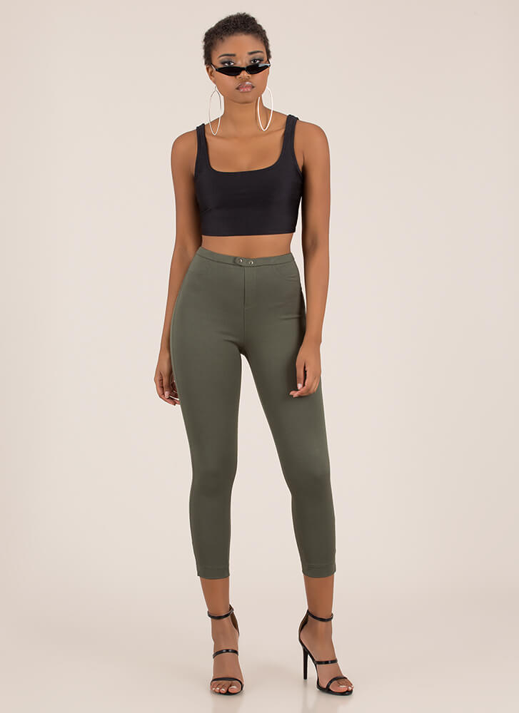 Tight Race Cropped Skinny Pants OLIVE