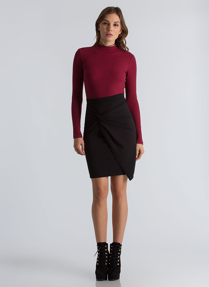 Knot Your Typical Asymmetrical Skirt BLACK
