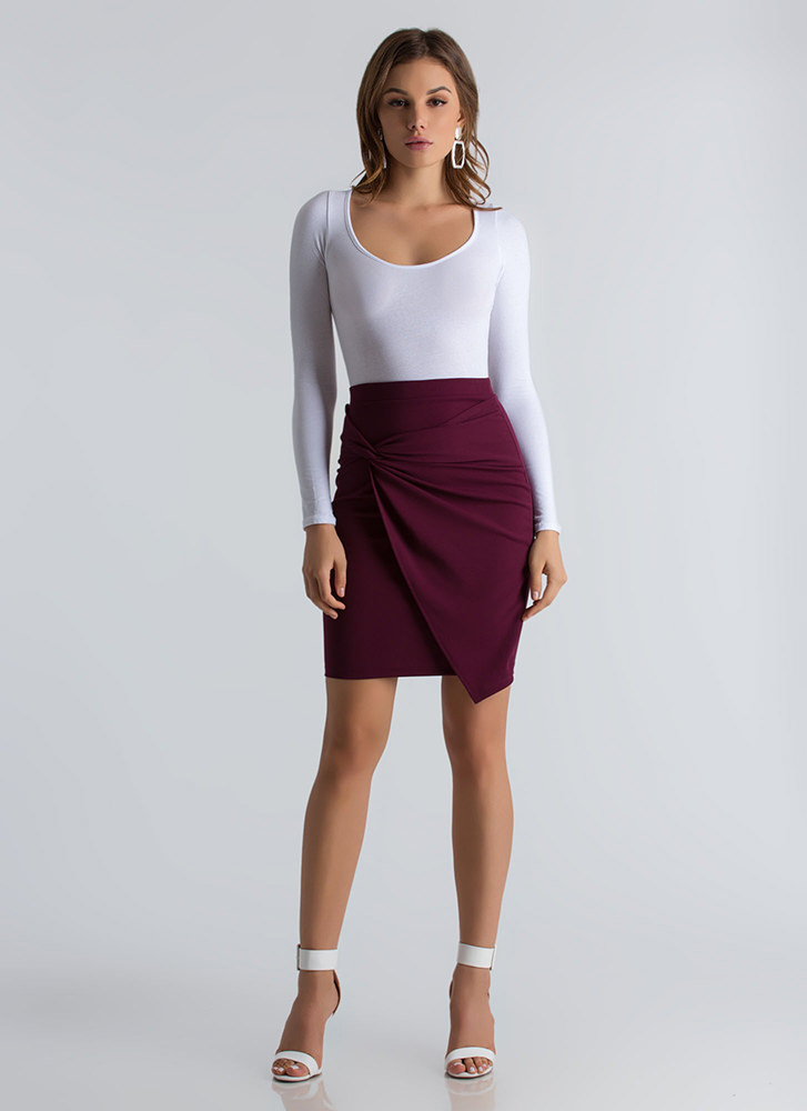 Knot Your Typical Asymmetrical Skirt BURGUNDY