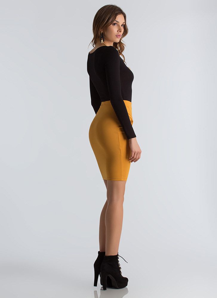 Knot Your Typical Asymmetrical Skirt MUSTARD