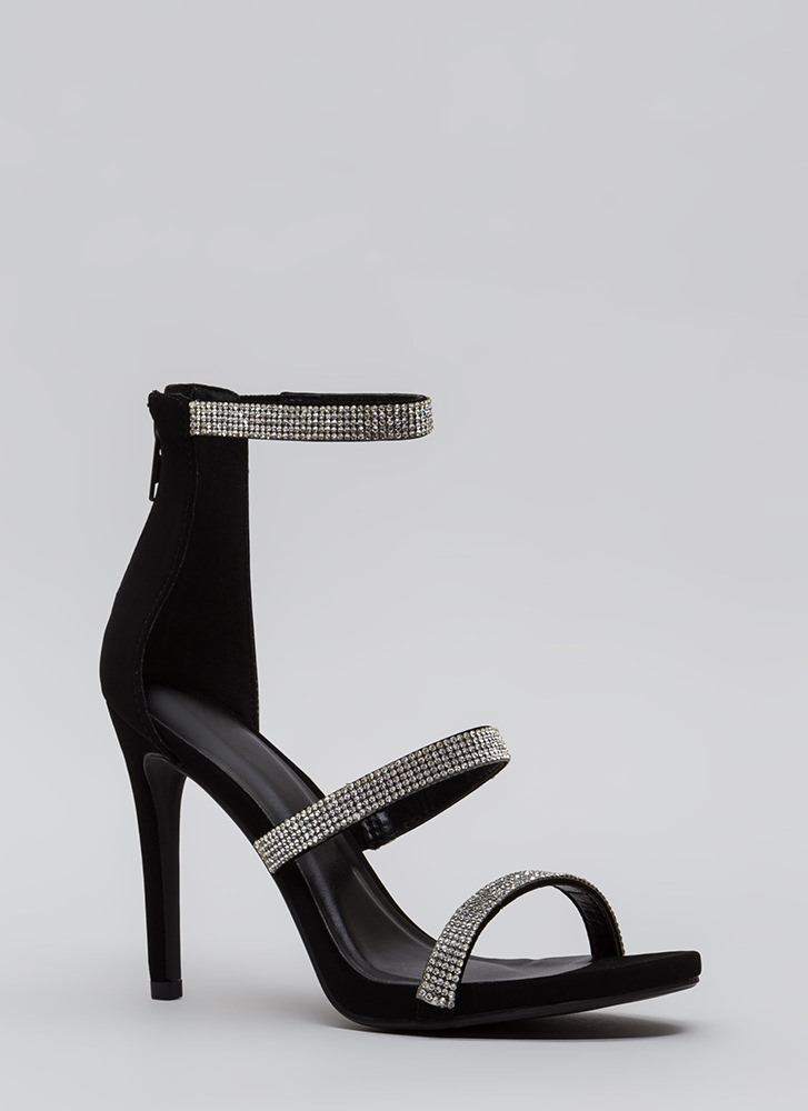 Just Jewels Strappy Faux Nubuck Heels BLACK