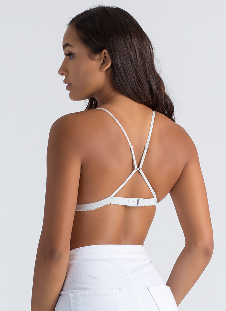 Top Down Convertible Lace Bralette STONE