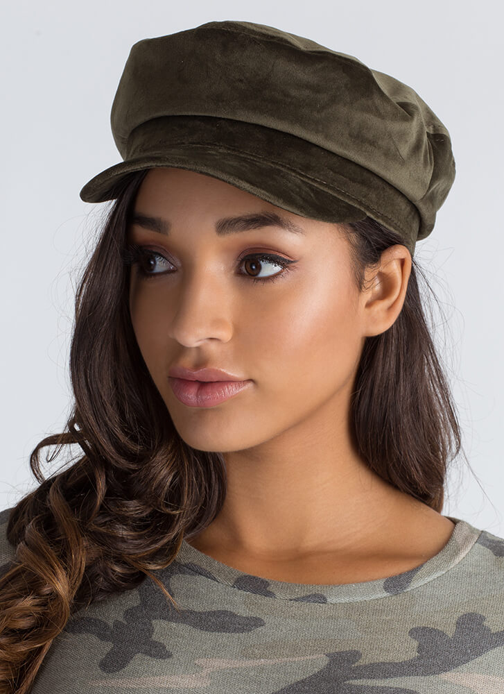 Ride Of Your Life Velvet Cabbie Hat OLIVE