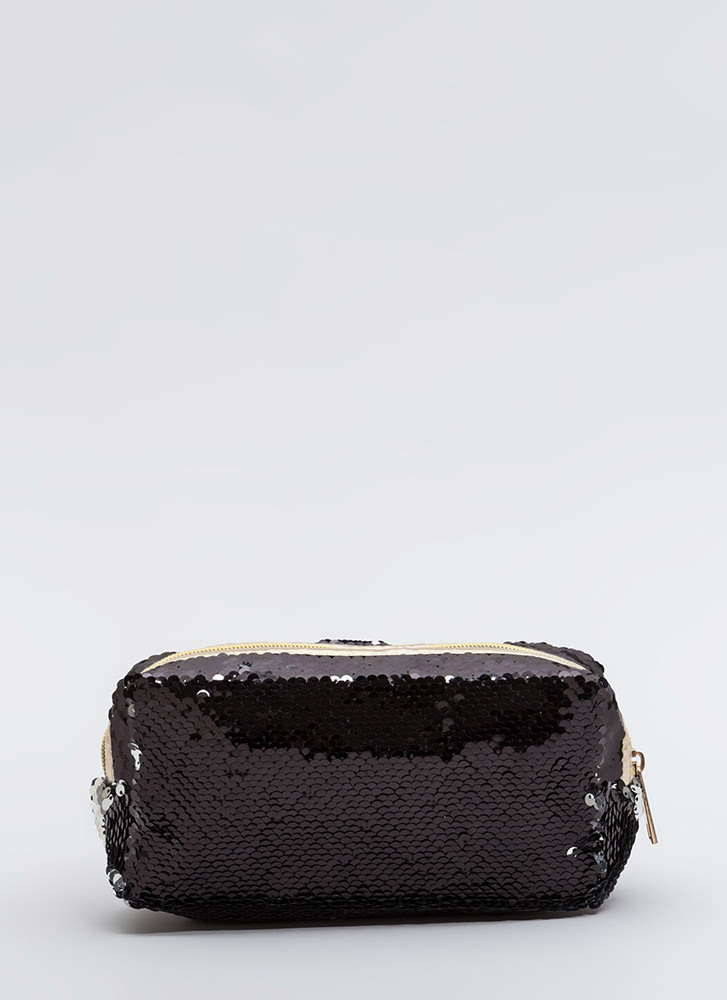 Shiny Face Sequined Makeup Pouch BLACK