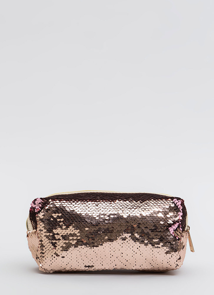 Shiny Face Sequined Makeup Pouch PINK
