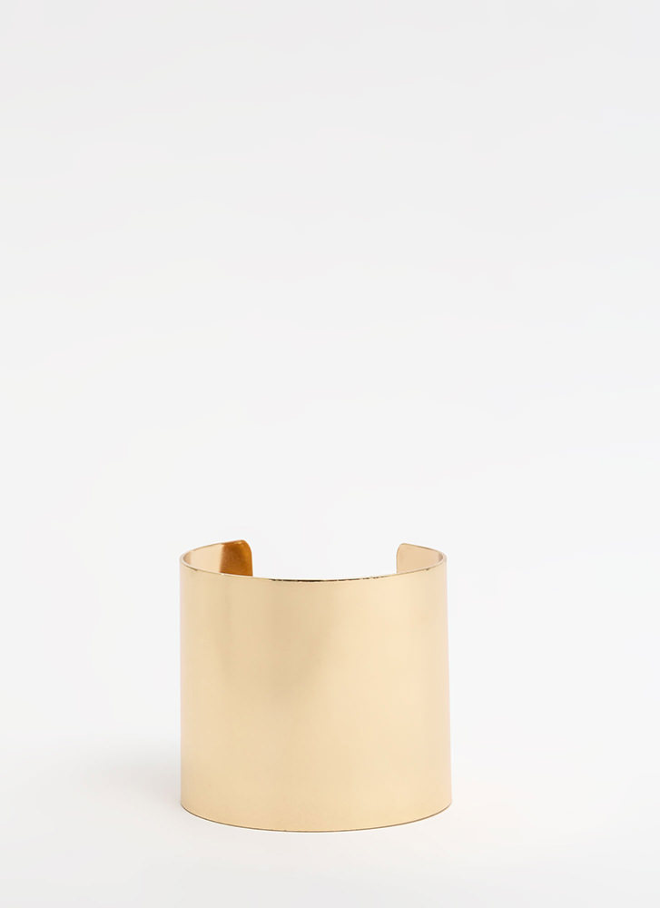 Brace Yourselves Wide Metal Cuff GOLD