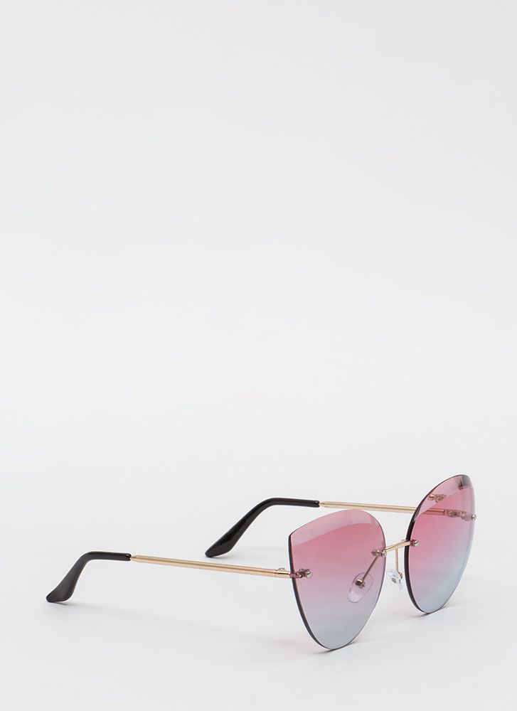Bevel Up Flared Flameless Sunglasses PINK