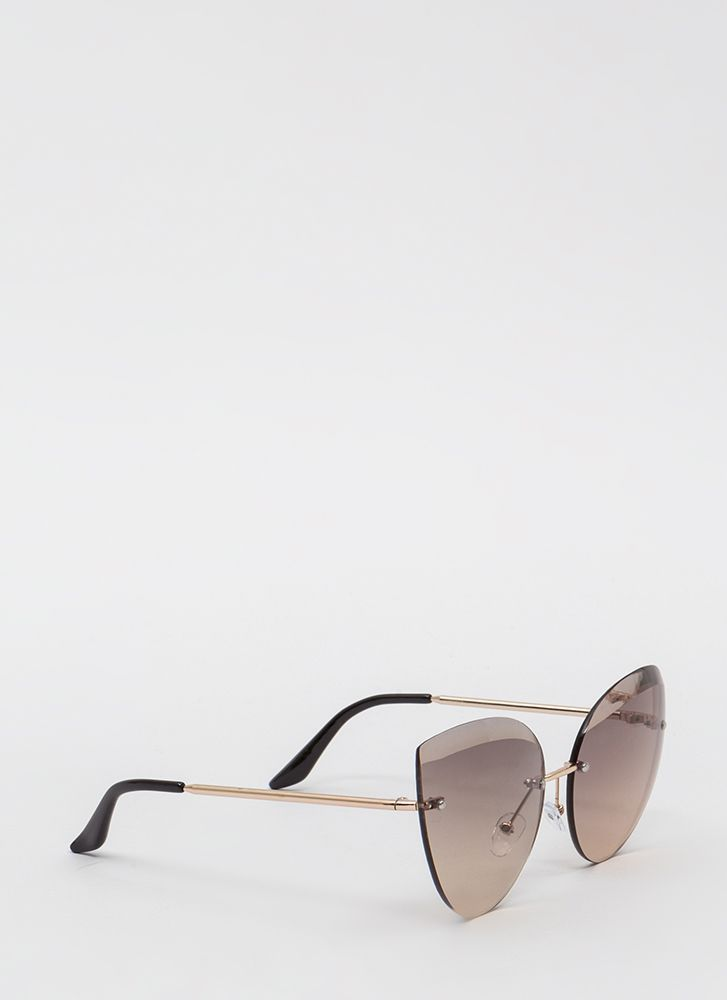 Bevel Up Flared Flameless Sunglasses TAUPE