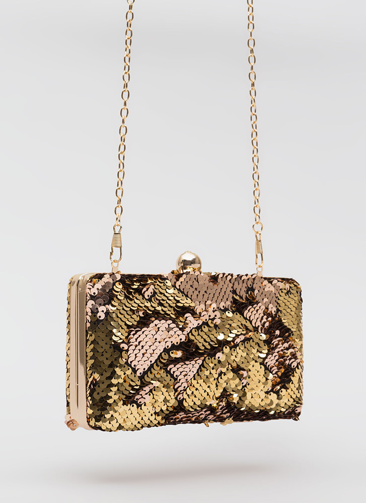 Coin Purse Sequined Box Clutch ROSEGOLD