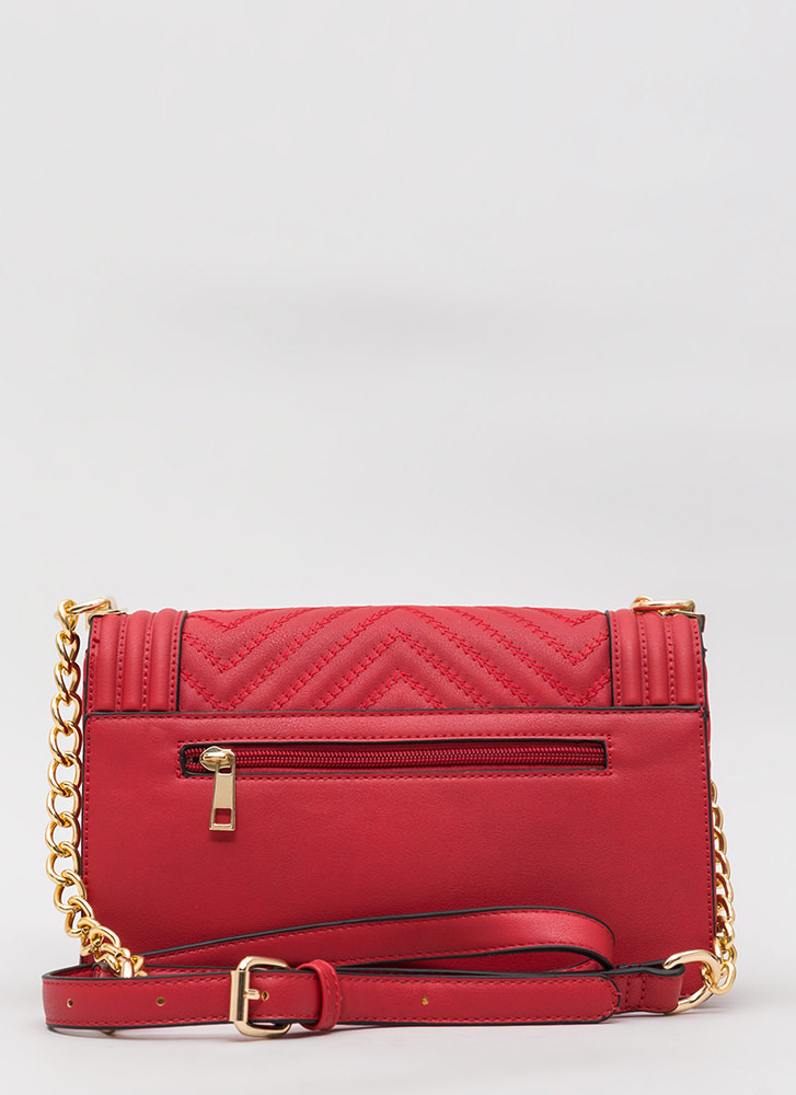 Zigzag Thru Life Faux Leather Bag RED