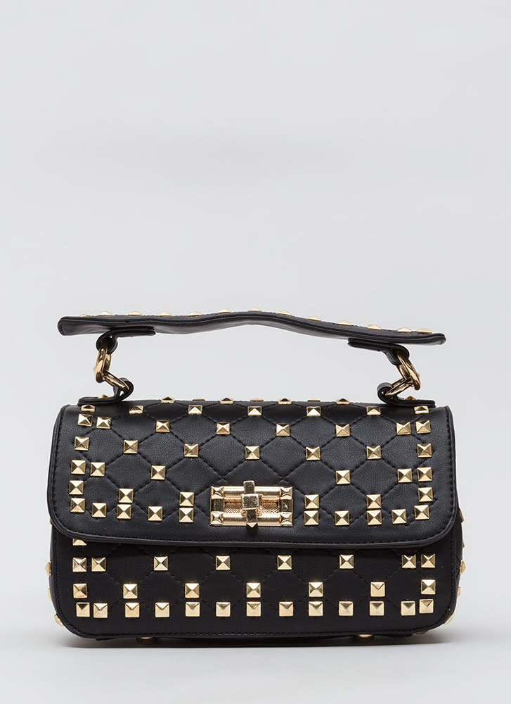 Pyramid Scheme Studded Quilted Bag BLACKGOLD