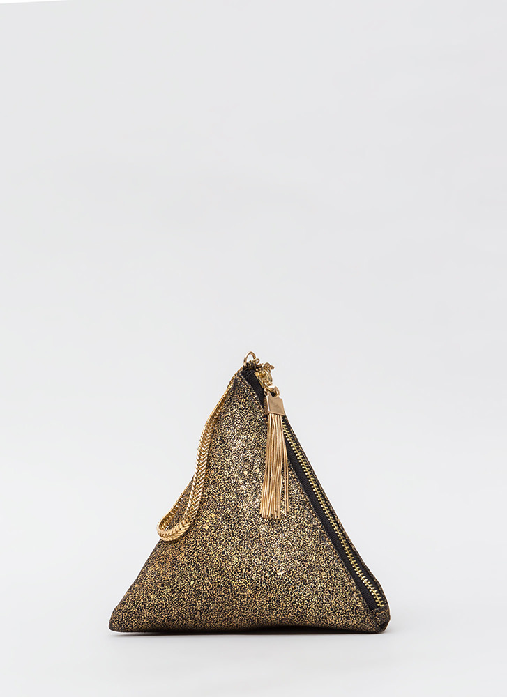 Pyramid Discovery Glittery Clutch GOLD