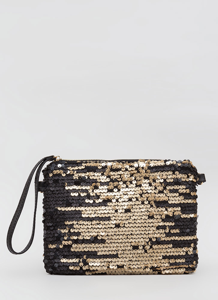 Sparkles Will Fly Sequined Clutch BLACKGOLD