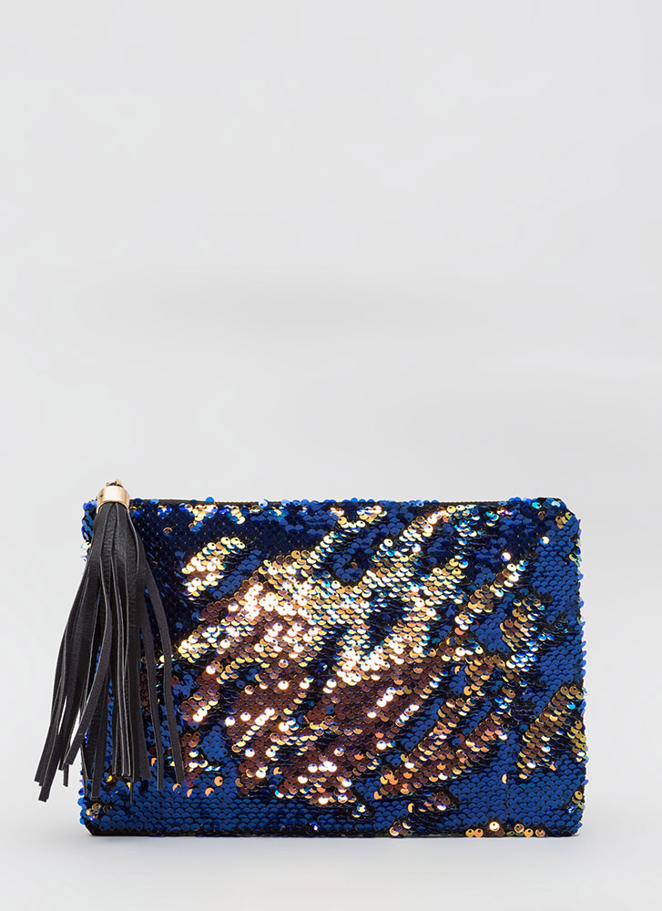Any Which Way Flat Sequined Clutch MULTI