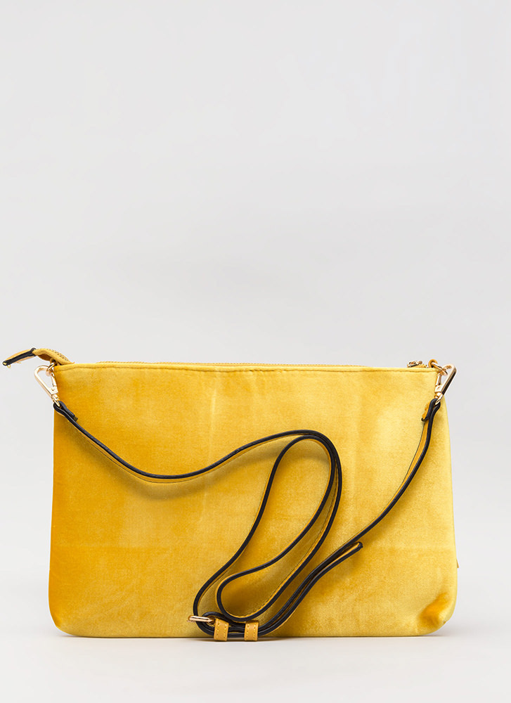 Pom-Poms Away Tasseled Velvet Clutch MUSTARD