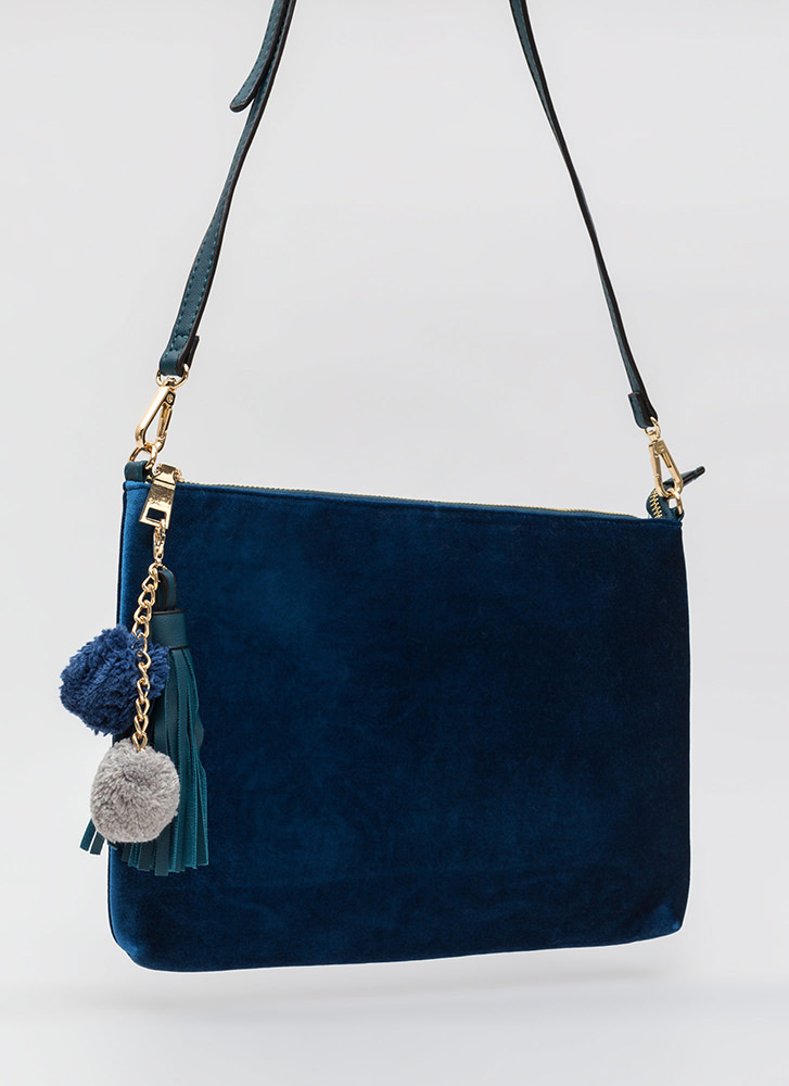 Pom-Poms Away Tasseled Velvet Clutch TEAL