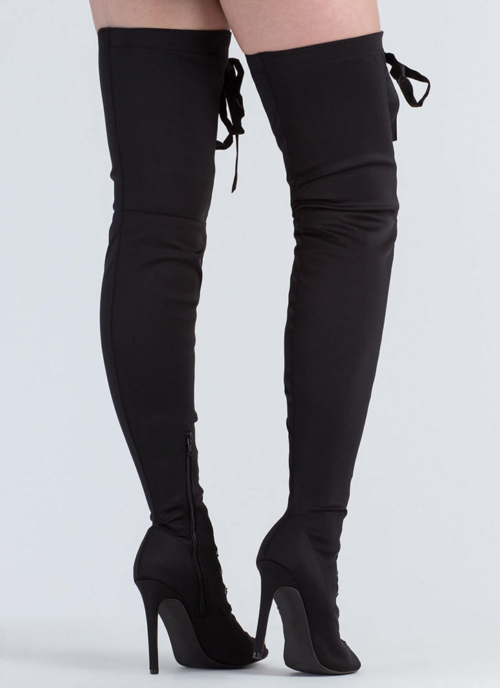 Luxe Good Tall Lace-Up Thigh-High Boots BLACK