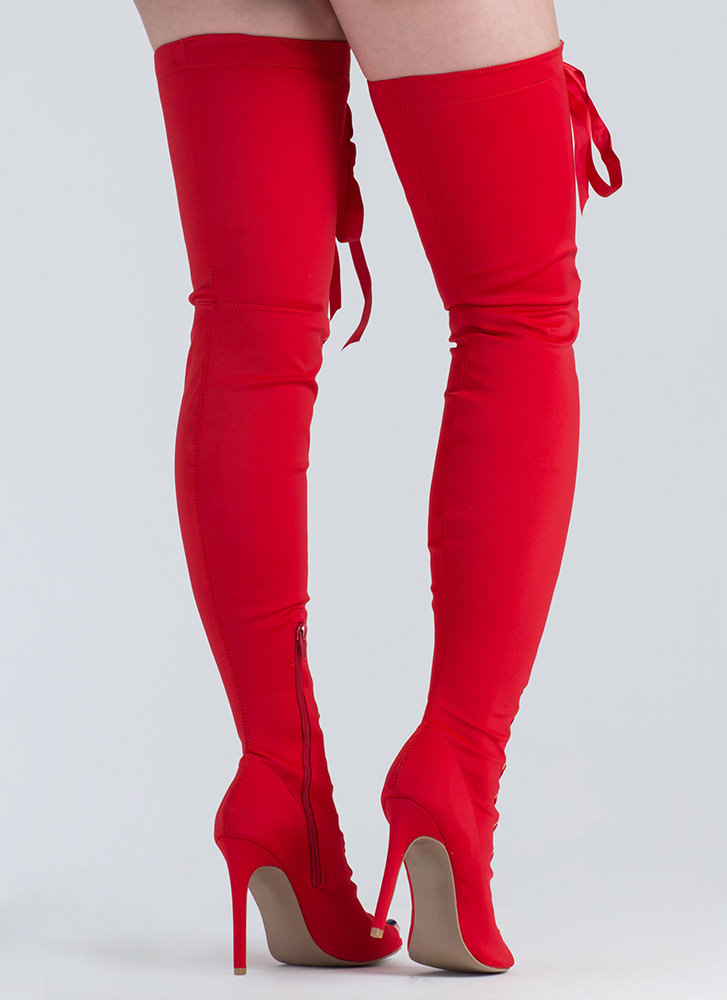 Luxe Good Tall Lace-Up Thigh-High Boots RED