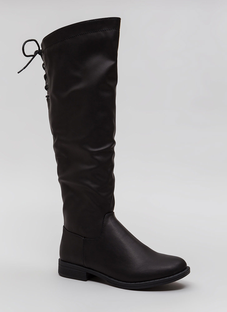 Fun Trails Faux Leather Lace-Back Boots BLACK