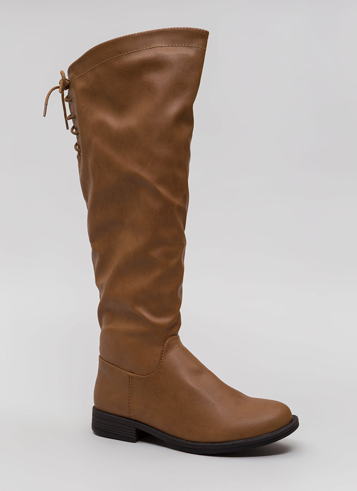 Fun Trails Faux Leather Lace-Back Boots TAN
