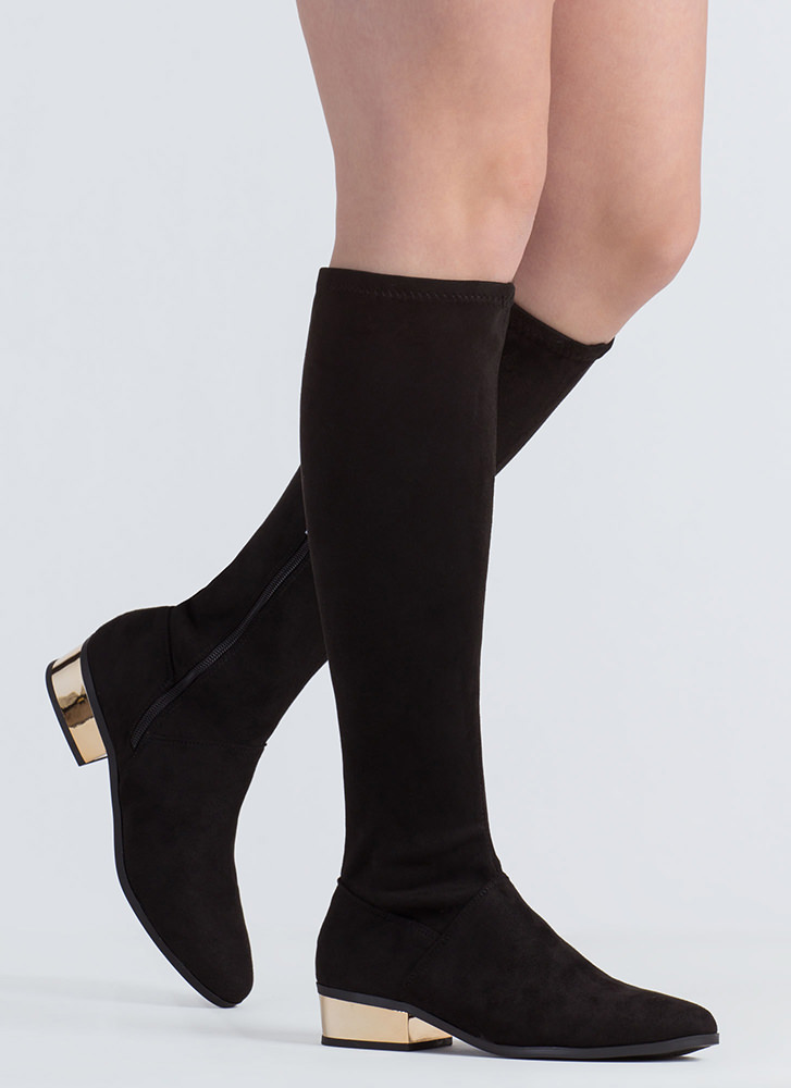 Shiny From The Block Faux Suede Boots BLACK