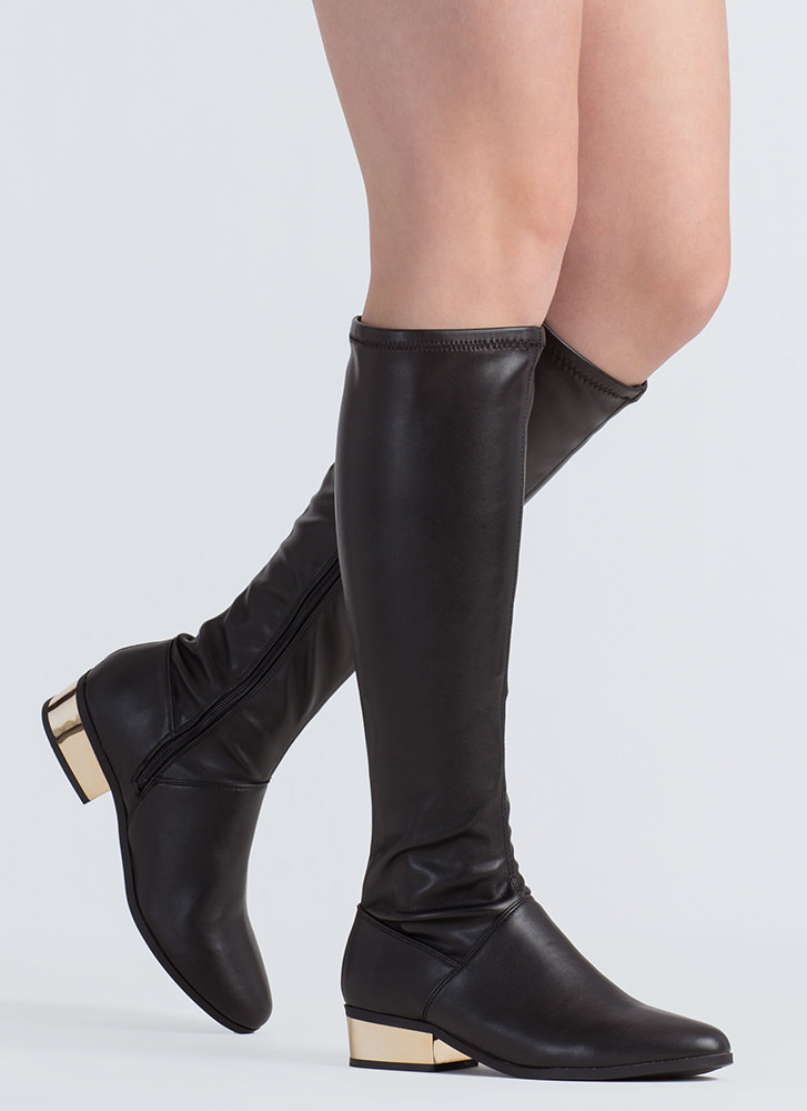 Shiny From The Block Faux Leather Boots BLACK