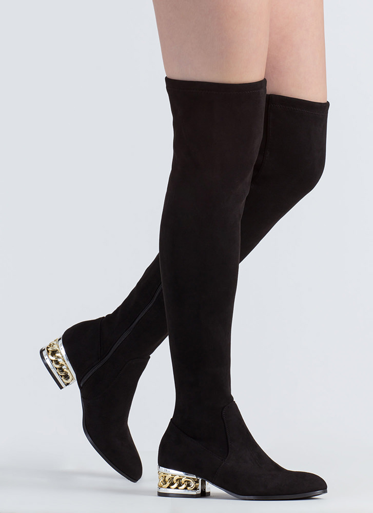 Form A Chain Heel Thigh-High Boots BLACK