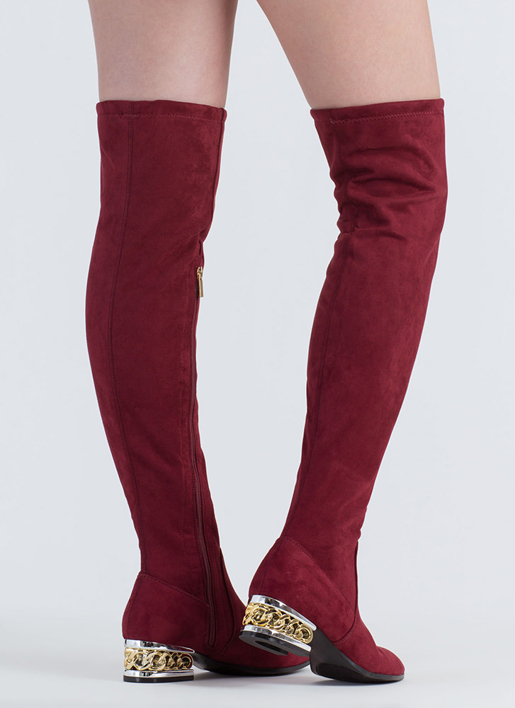 Form A Chain Heel Thigh-High Boots BURGUNDY