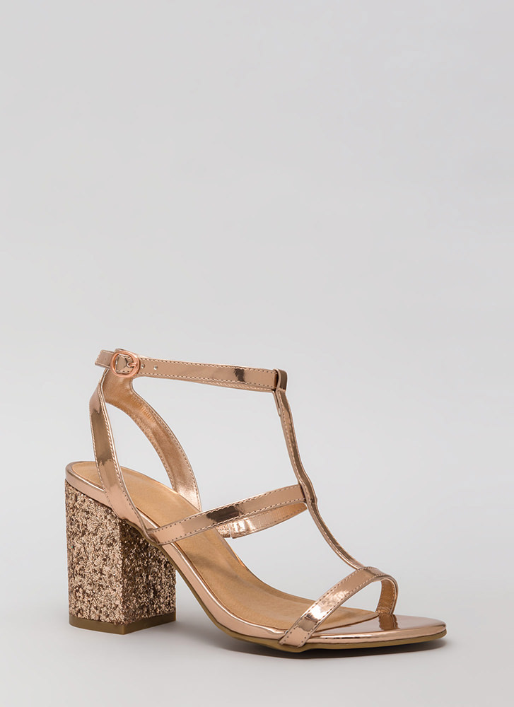 Go For The Glitter Strappy Block Heels ROSEGOLD