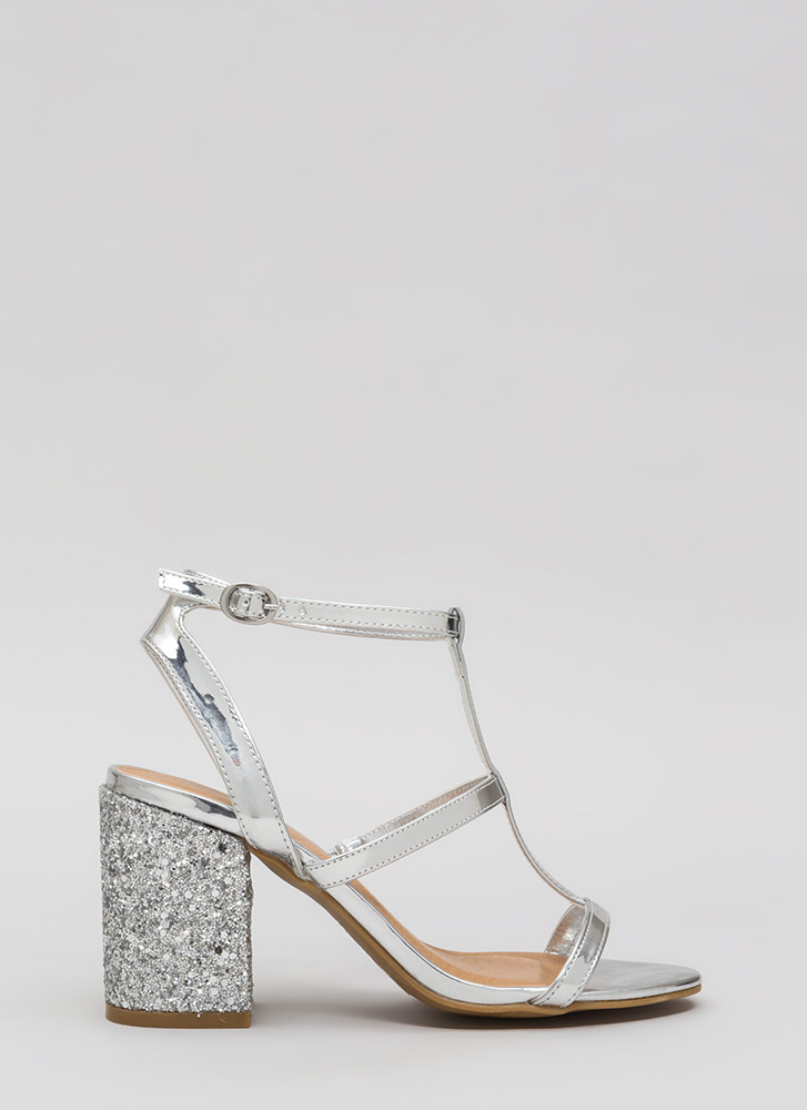 Go For The Glitter Strappy Block Heels SILVER