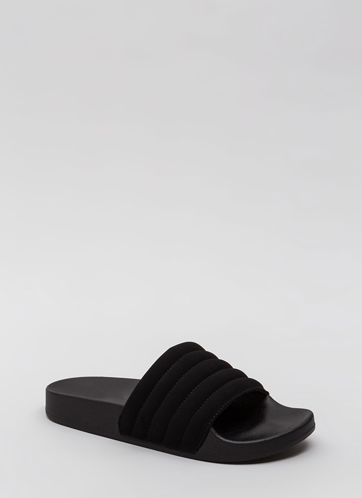 Stitch Please Faux Nubuck Slide Sandals BLACK