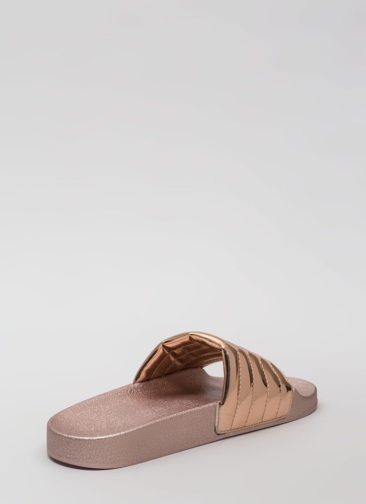 Stitch Please Faux Patent Slide Sandals ROSEGOLD (Final Sale)
