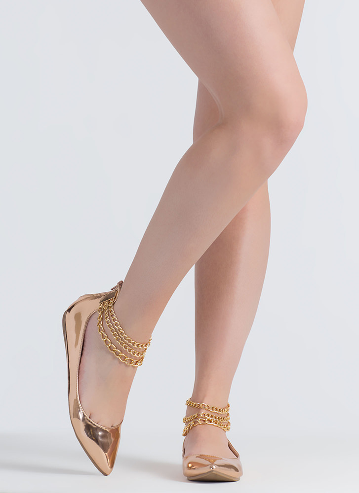 3 Chainz Pointy Faux Patent Flats ROSEGOLD